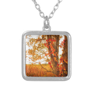 Fall Tree Great Meadows National Wildlife Refuge Silver Plated Necklace