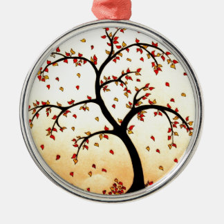 Fall Tree Pencil Drawing Silver-Colored Round Decoration