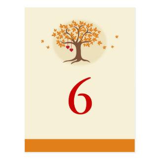 Fall Tree Table Number Card Postcard