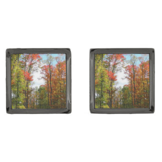Fall Trees and Blue Sky Autumn Nature Photography Gunmetal Finish Cuff Links