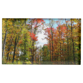 Fall Trees and Blue Sky Autumn Nature Photography Table Card Holder