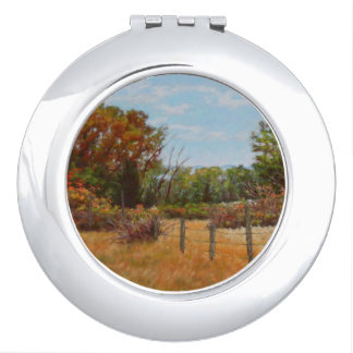 Fall Trees and Red Bushes w Fence Compact Mirror