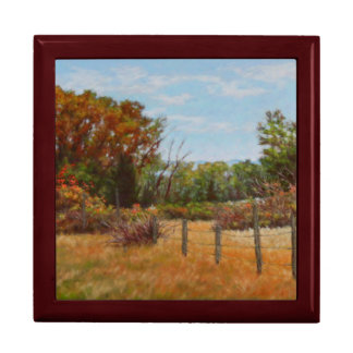 Fall Trees and Red Bushes w Fence Keepsake Box
