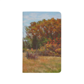 Fall Trees and Red Bushes w Fence Pocket Journal