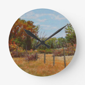 Fall Trees and Red Bushes with Fence Clock