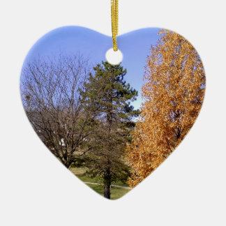 Fall Trees Ceramic Ornament