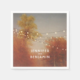 Fall Trees Rustic Country Wedding Paper Napkin