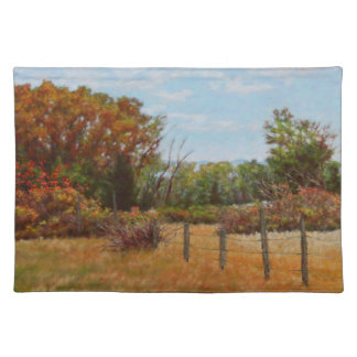 Fall Trees w Fence 1 Sided Cotton Placemat