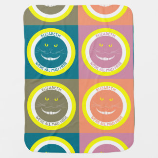 Fall Trendy Pastel Colors Cheshire Smiling Cat Receiving Blankets