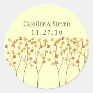 Fall Twig Tree - Wedding Round Sticker