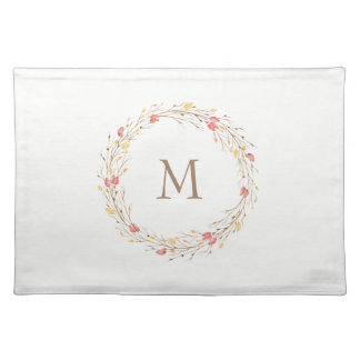 Fall Twig Wreath Monogram Cloth Placemat
