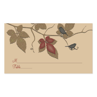 Fall Vines and Birds Special Occasion Place Card Business Card Template