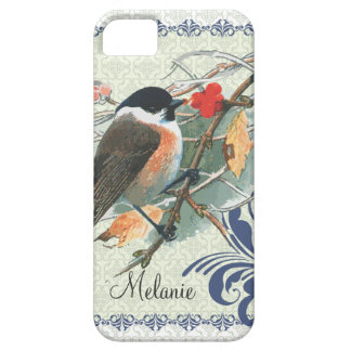 Fall Vintage Cute Bird Sitting on Branch iPhone 5 Covers