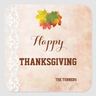 Fall Vintage Lace Happy Thanksgiving Monogram Square Sticker