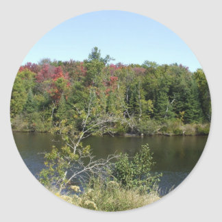 Fall Water Scene for Earth Day Round Sticker