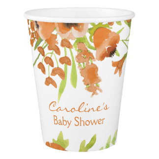 Fall Watercolor Floral Baby Shower Paper Cup