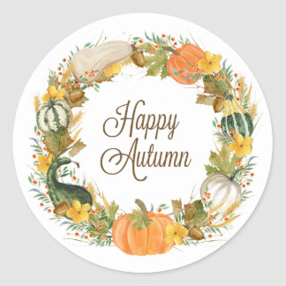 fall watercolor gourd and pumpkin wreath classic round sticker