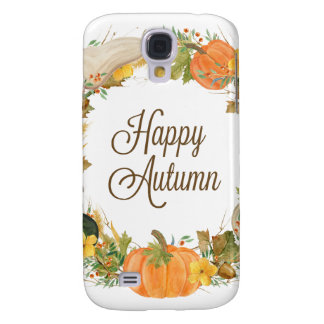 fall watercolor gourd and pumpkin wreath galaxy s4 cases