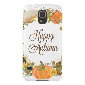 fall watercolor gourd and pumpkin wreath galaxy s5 case