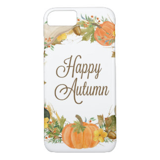 fall watercolor gourd and pumpkin wreath iPhone 8/7 case