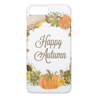 fall watercolor gourd and pumpkin wreath iPhone 8 plus/7 plus case