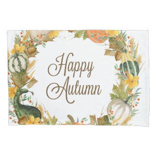 fall watercolor gourd and pumpkin wreath pillowcase