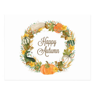 fall watercolor gourd and pumpkin wreath postcard