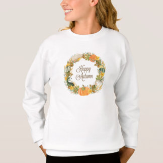 fall watercolor gourd and pumpkin wreath sweatshirt
