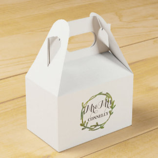 Fall Watercolor Green Leaves Wedding Favour Box