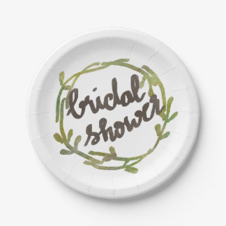 Fall Watercolor Green Leaves Wedding Paper Plate