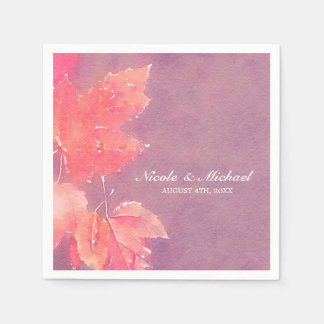 Fall Watercolor Leaves Wedding Disposable Napkins