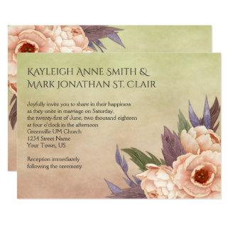 Fall Watercolor Peonies Wedding Invitations