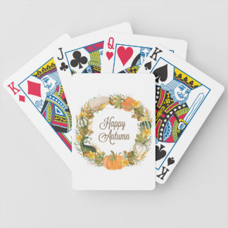 fall watercolor wreath bicycle playing cards