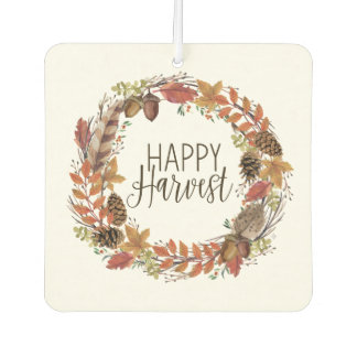 fall watercolor wreath car air freshener