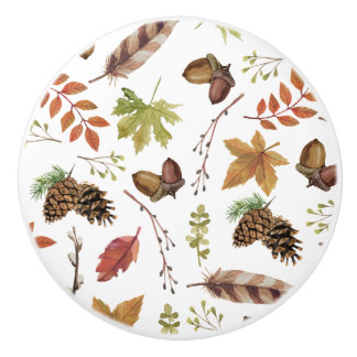 fall watercolor wreath ceramic knob
