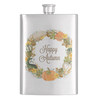 fall watercolor wreath hip flask