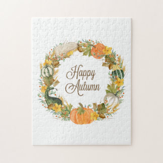 fall watercolor wreath jigsaw puzzle