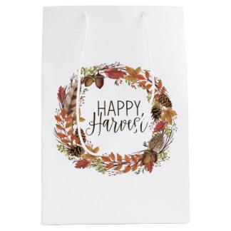 fall watercolor wreath medium gift bag