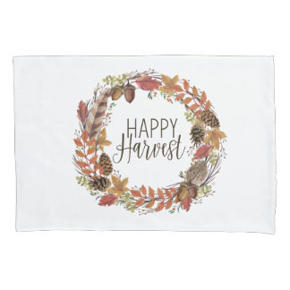 fall watercolor wreath pillowcase