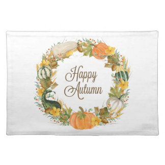 fall watercolor wreath placemat