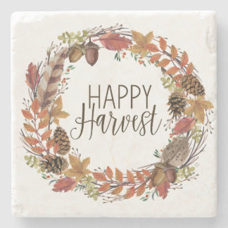 fall watercolor wreath stone coaster