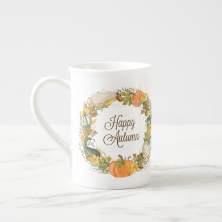 fall watercolor wreath tea cup