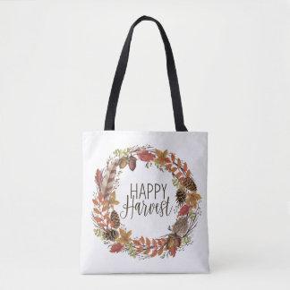fall watercolor wreath tote bag