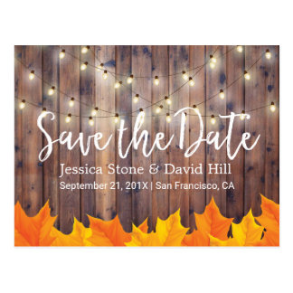 Fall Wedding Autumn Leaves Barn Wood Save the Date Postcard