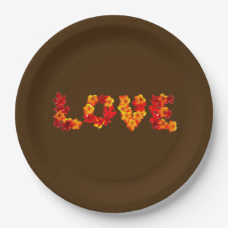 Fall Wedding Autumn Rustic Love Leaves Brown 9 Inch Paper Plate