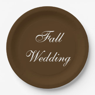 Fall Wedding Brown Rich Deep Rustic Color 9 Inch Paper Plate
