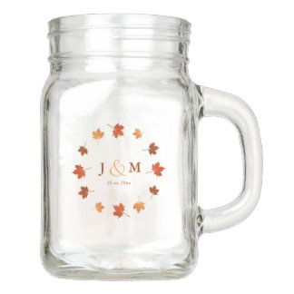 fall wedding drinking jar maple leaves circle