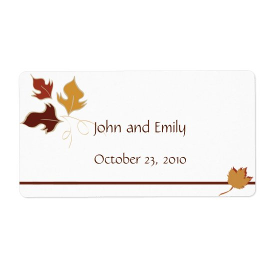 Fall Wedding Favour Labels