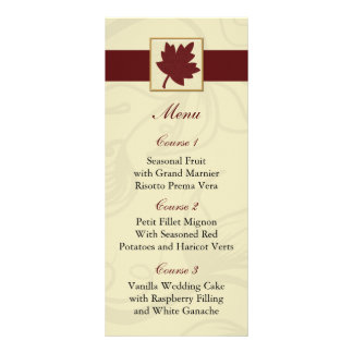 fall wedding menu personalized rack card