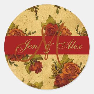 Fall Wedding Monogram and Names Rose Sticker